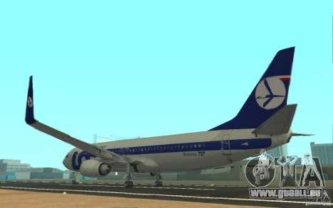 Boeing 737 LOT Polish Airlines für GTA San Andreas zurück linke Ansicht
