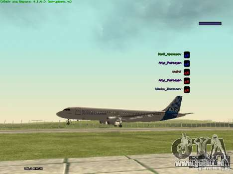 Airbus A320-300 pour GTA San Andreas vue de droite