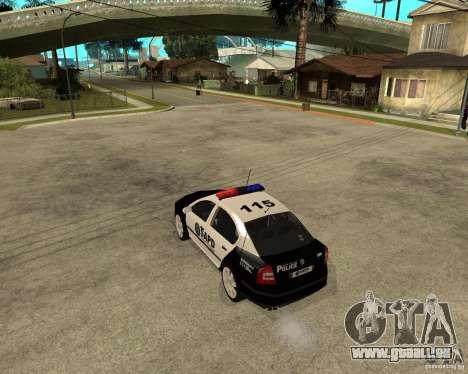 Skoda Octavia II 2005 SAPD POLICE pour GTA San Andreas sur la vue arrière gauche