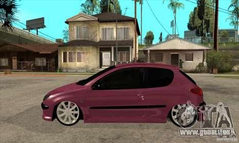 Peugeot 206 Suspen AR pour GTA San Andreas laissé vue