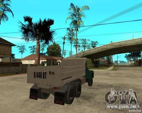 Camion à benne basculante 133 ZIL pour GTA San Andreas sur la vue arrière gauche