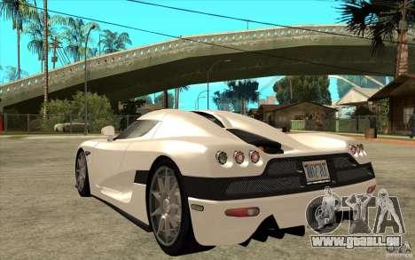 Koenigsegg CCX - Stock pour GTA San Andreas sur la vue arrière gauche