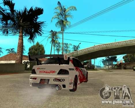 Lancer Evolution VIII, les Américains sont inter pour GTA San Andreas sur la vue arrière gauche