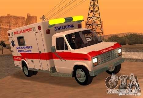 Ford Econoline Ambulance für GTA San Andreas zurück linke Ansicht