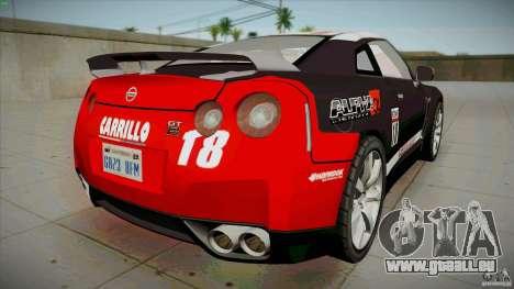 Nissan GT-R  AMS Alpha 12 pour GTA San Andreas sur la vue arrière gauche