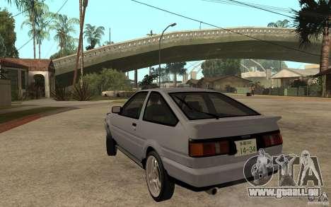 Toyota Corolla AE86 pour GTA San Andreas sur la vue arrière gauche