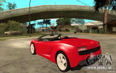Lamborghini Gallardo LP560 Spider für GTA San Andreas zurück linke Ansicht