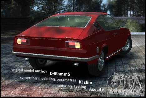 Audi 100 Coupe S 1974 für GTA 4 linke Ansicht