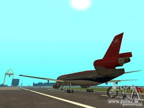 McDonell Douglas DC 10 Nortwest Airlines pour GTA San Andreas vue de droite
