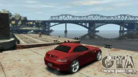 BMW Z4 pour GTA 4 Vue arrière de la gauche