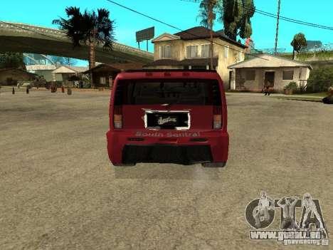 Hummer H2 Tuning pour GTA San Andreas sur la vue arrière gauche