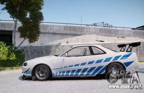 Nissan Skyline GT-R R34 2F2F für GTA 4 linke Ansicht