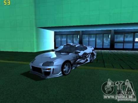 Toyota Supra pour GTA San Andreas vue de dessous