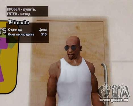 Bleus lunettes aviateur pour GTA San Andreas sixième écran