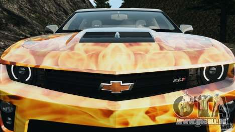 Chevrolet Camaro ZL1 2012 v1.0 Flames pour GTA 4 roues