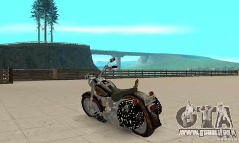 Harley Davidson FLSTF (Fat Boy) v2.0 Skin 5 pour GTA San Andreas sur la vue arrière gauche