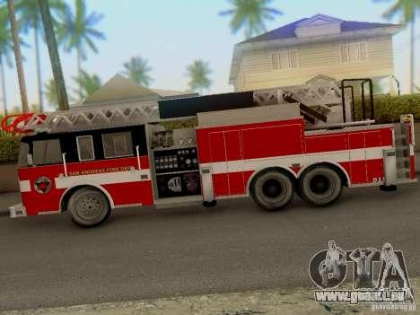 Pierce Firetruck Ladder SA Fire Department pour GTA San Andreas sur la vue arrière gauche