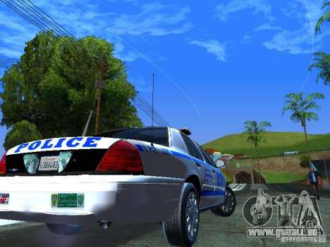 Ford Crown Victoria 2009 New York Police für GTA San Andreas zurück linke Ansicht