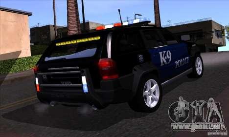 NFS Undercover Police SUV pour GTA San Andreas vue de côté