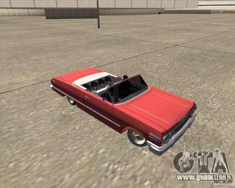 Chevrolet Impala 1963 lowrider pour GTA San Andreas vue de dessus