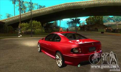 Holden Monaro CV8-R für GTA San Andreas zurück linke Ansicht