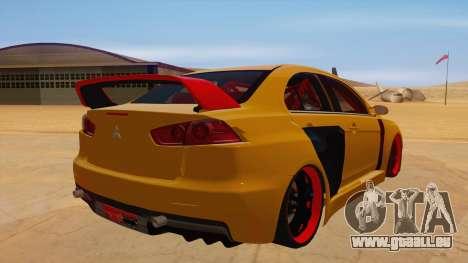 Mitsubishi Lancer Evolution X für GTA San Andreas rechten Ansicht