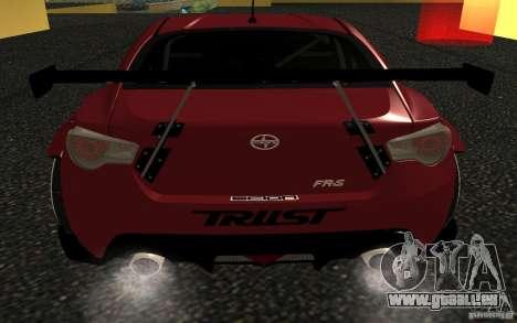Scion FR-S pour GTA San Andreas sur la vue arrière gauche
