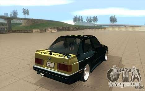 BMW E30 323i pour GTA San Andreas sur la vue arrière gauche
