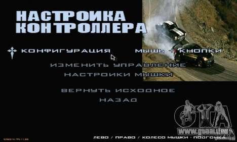 Rapide et le furieux menu 3 pour GTA San Andreas quatrième écran