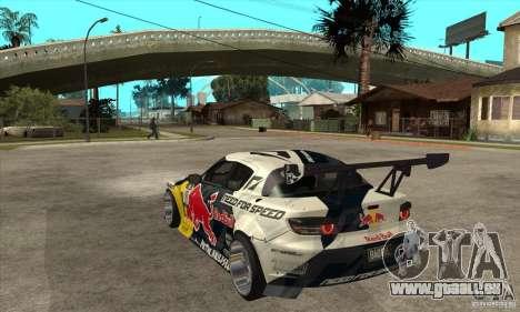 Mazda RX8 NFS Team Mad Mike pour GTA San Andreas sur la vue arrière gauche