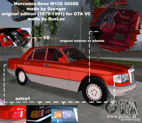Mercedes-Benz W126 500SE für GTA Vice City