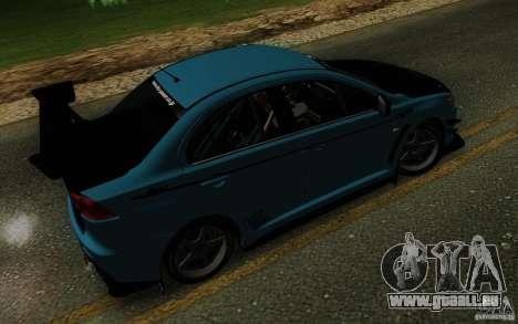 Mitsubishi Lancer Evolution X Tunable pour GTA San Andreas vue de dessus