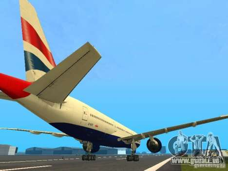 Boeing 777-200 British Airways für GTA San Andreas rechten Ansicht