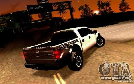 Ford Raptor Crewcab 2012 für GTA San Andreas zurück linke Ansicht