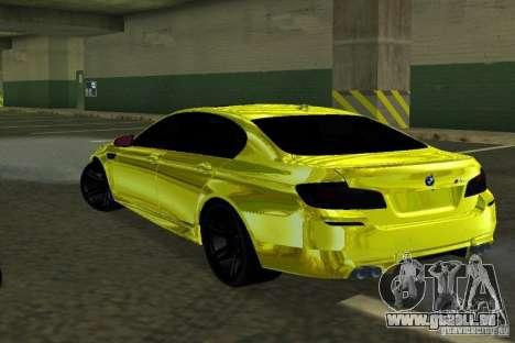 BMW M5 F10 Gold pour GTA San Andreas sur la vue arrière gauche