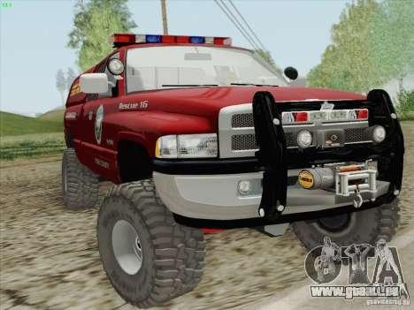 Dodge Ram 3500 Search & Rescue pour GTA San Andreas vue intérieure