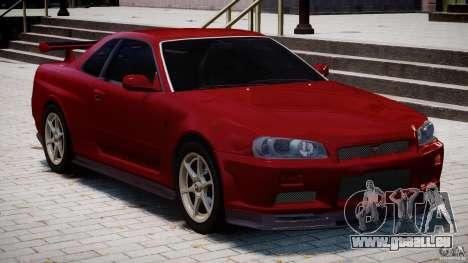 Nissan Skyline GT-R 34 V-Spec für GTA 4 obere Ansicht
