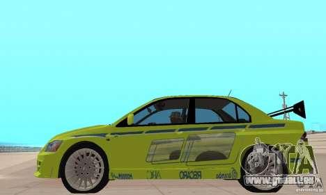 Mitsubishi Lancer Evo The Fast and the Furious 2 für GTA San Andreas zurück linke Ansicht