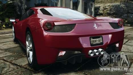 Ferrari 458 Italia 2010 v2.0 pour GTA 4 Vue arrière de la gauche