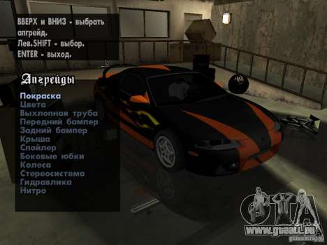 Mitsubishi Eclipse 1998 Need For Speed Carbon pour GTA San Andreas vue intérieure