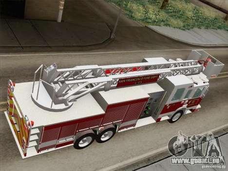 Pierce Aerials Platform. SFFD Ladder 15 für GTA San Andreas Rückansicht
