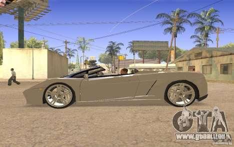 Lamborghini Galardo Spider für GTA San Andreas Rückansicht