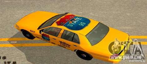 Ford Crown Victoria 2003 Taxi for state 99 für GTA San Andreas zurück linke Ansicht