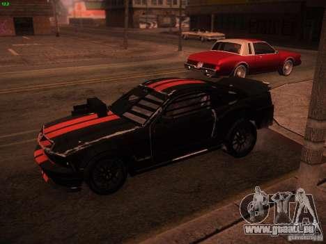 Ford Mustang Shelby GT500 pour GTA San Andreas sur la vue arrière gauche