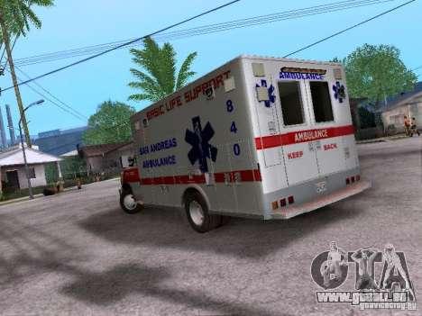 Ford E-350 Ambulance v2.0 pour GTA San Andreas sur la vue arrière gauche