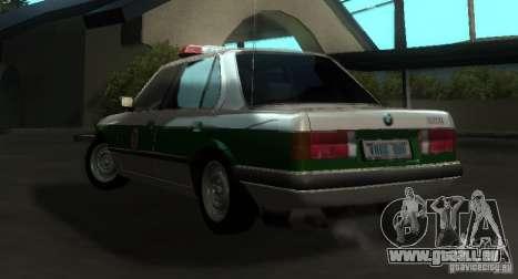 BMW E30 Sedan Police für GTA San Andreas zurück linke Ansicht