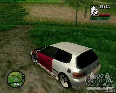 Honda Civic Hellaflush pour GTA San Andreas sur la vue arrière gauche
