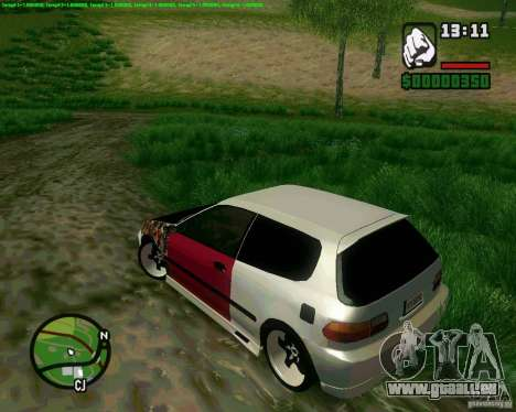 Honda Civic Hellaflush für GTA San Andreas zurück linke Ansicht