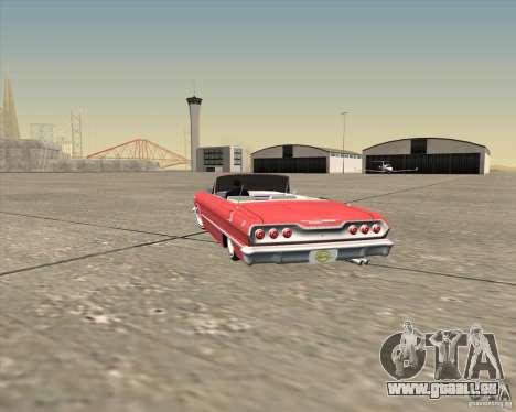 Chevrolet Impala 1963 lowrider pour GTA San Andreas vue de dessous