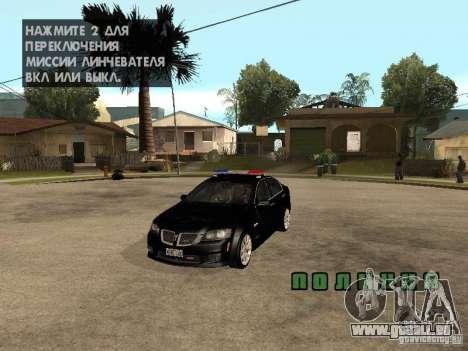 Pontiac G8 GXP Police v2 für GTA San Andreas